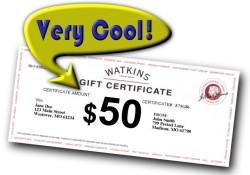 Watkins December $50 Sign Up Bonus Gift Certificate